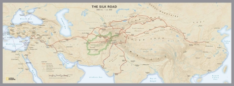 Map of the Silk Road, courtesy National Geographic