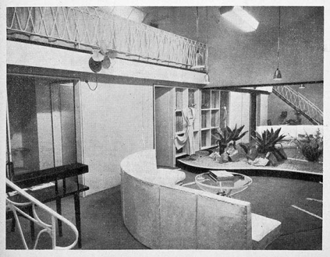 An interior view of Gwen Gillam's frock shop in the Brisbane Arcade in 1950. The elaborate interior, designed by the architect David B. Bell, was featured in the journal Architecture, Building, Engineering as an example of shop modernisation in Brisbane at that time. Image from Architecture, Building, Engineering, No. 6, Volume 28, June 1950. Courtesy of the Fryer Library, University of Queensland.