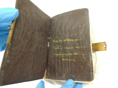 "Photo showing the written message on the first page of Mary Watson's (nee Oxnam) bible. The message reads: ""To Miss M Oxnam, With a young friend's most sincere wishes, June 16th 1877"""