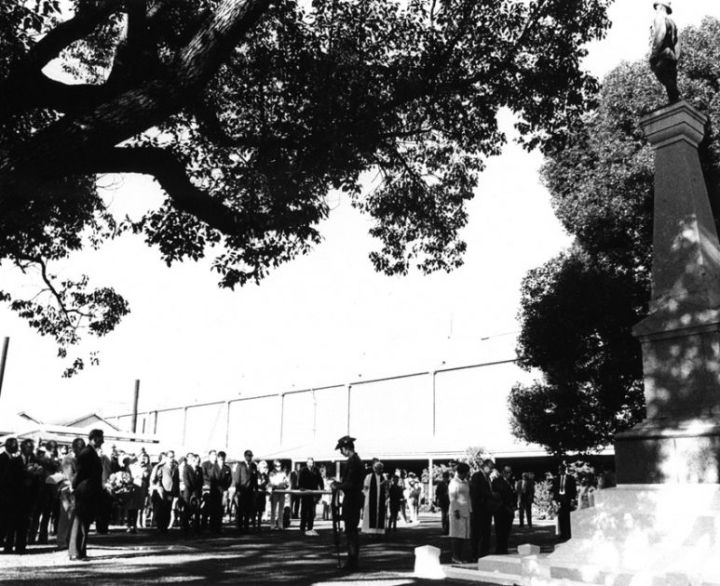 ANZAC Day Service at Ipswich Railway Workshops War Memorial c1972. Image from The Workshops Rail Museum / Queensland Rail collection.