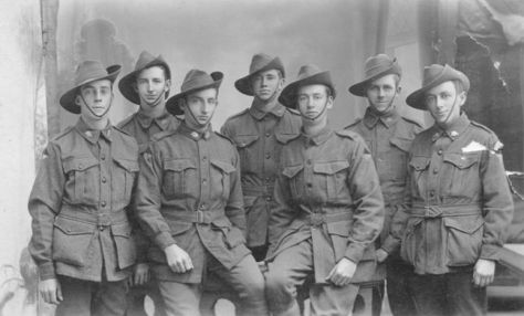 Seven apprentices and tradesmen from the Ipswich Railway Workshops' Carriage Shop, just prior to embarkation, November 1917.