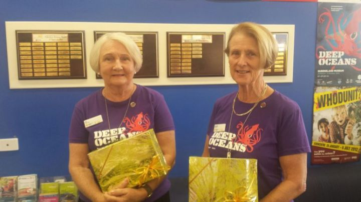 Queensland Museum & Sciencentre volunteers for 20 years Jan (left) and Rosemary (right).