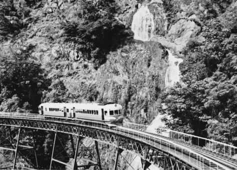 Two-car 1800 class Rail Motor on the Cairns Range, circa 1965
