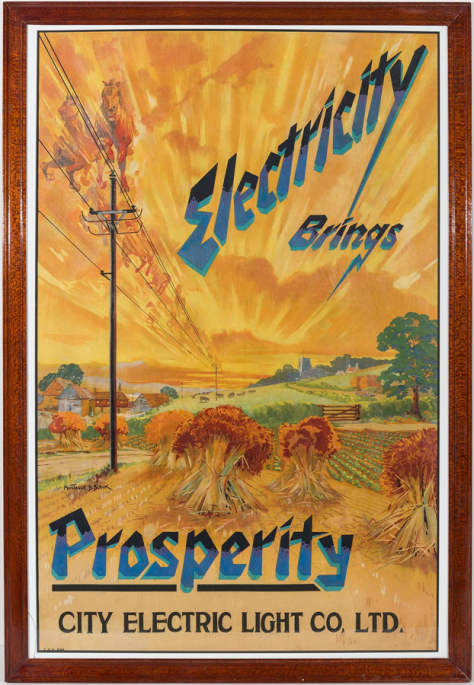 Electricity Brings Prosperity - advertising poster for the City Electric Light Company Limited, Lithograph by Montague Birrell Black.
