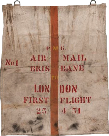 This mail bag was used by QANTAS to transport mail on the very first airmail service between Australia and England in 1931.
