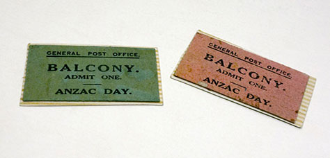 Tickets to Brisbane General Post Office Balcony, ANZAC Day, Queensland Museum