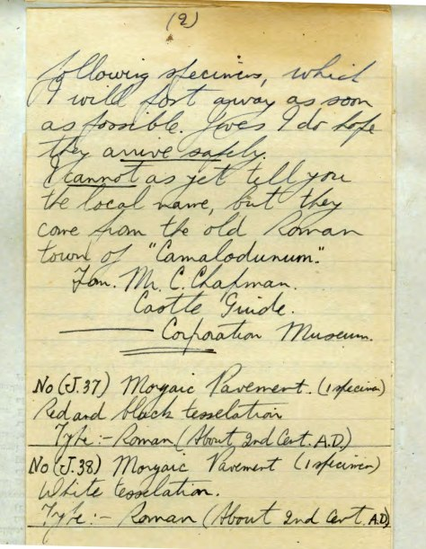 Extract of personal correspondence from Jackson to QM 3rd November 1941
