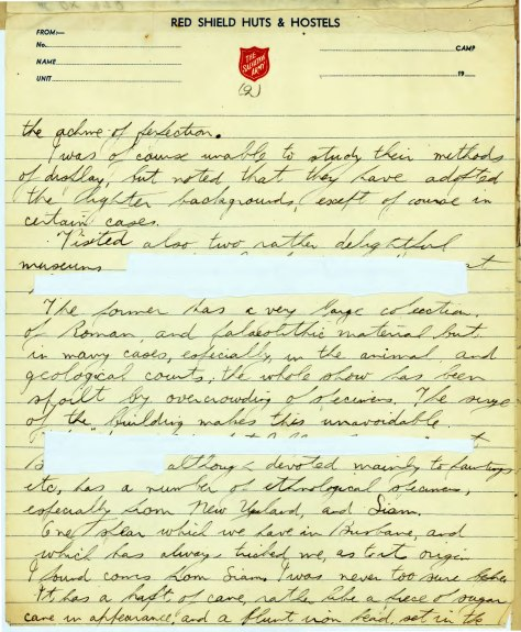 extract of personal correspondence from Jackson to QM 18th July 1940