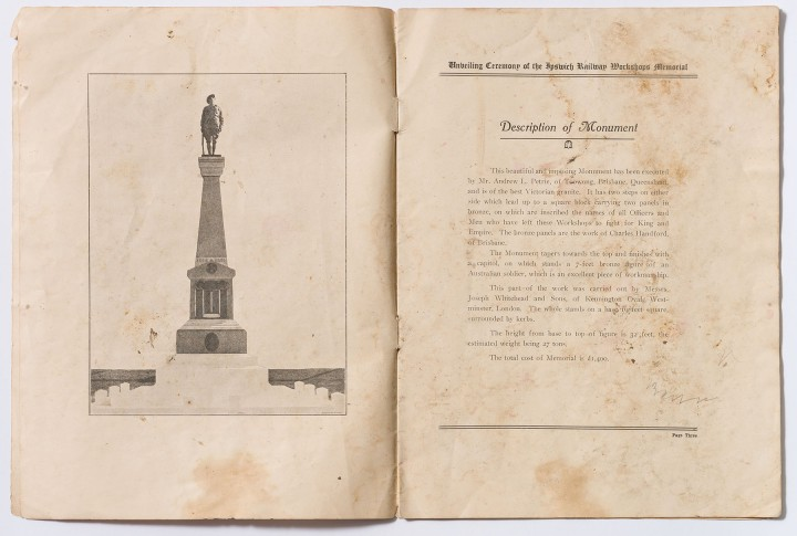 Official Souvenir Programme of the unveiling of the Memorial.