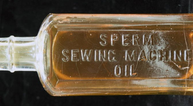 A sperm sewing machine oil bottle from Aarhus