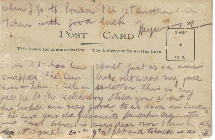 Postcard sent to Christina from Woodie during WW1