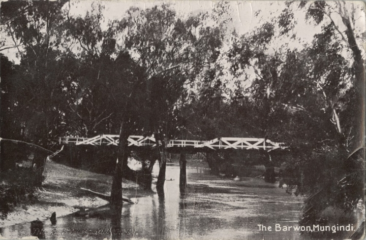 View of the Barwon River and bridge at Mungindi 1909