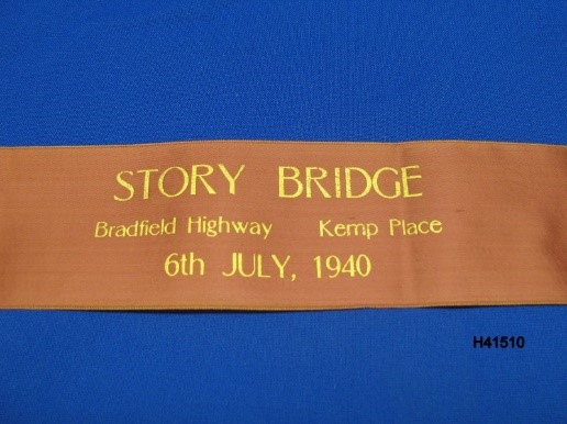 Commemorative ribbon which was cut to celebrate the opening of the Story Bridge.