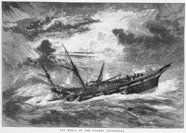 Artist impression of the wreck of the steamer Gothenburg