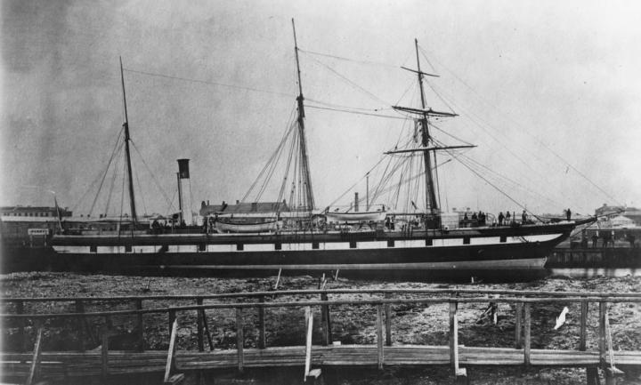 SS Gothenburg docked at Port Adelaide wharf after her lengthening in 1873.